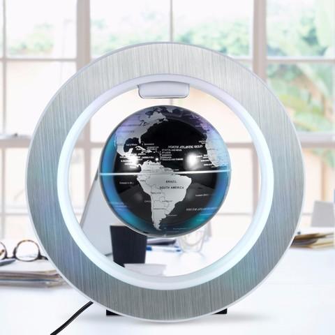 Левитирующий светильник: глобус в круглой раме (чёрный)