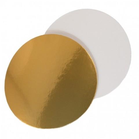 Подложка для торта d=24 см (3,2мм) золото/белый