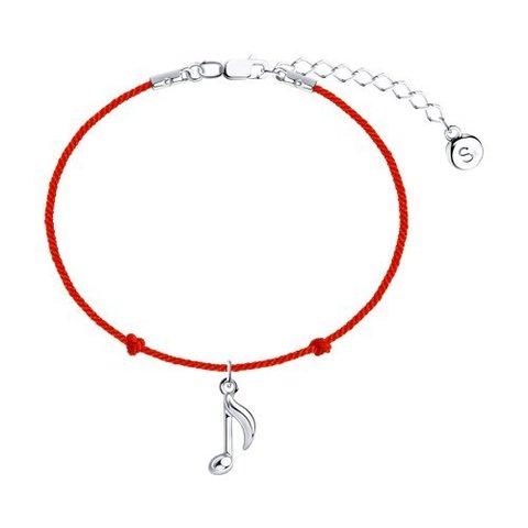 94050764 - Браслет-красная нить с подвеской  из серебра