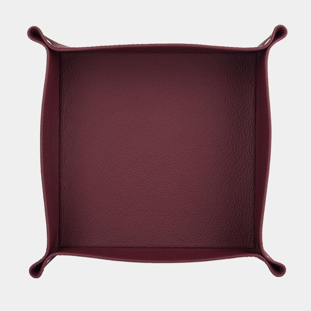 Лоток для мелочи из натуральной кожи теленка, бордового цвета