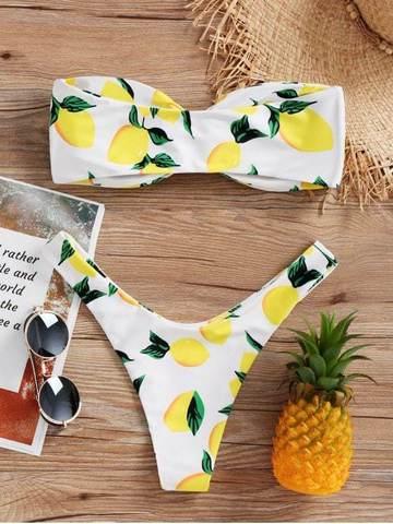 купальник раздельный бандо твист белый с лимонами 3