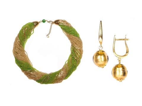 Комплект украшений зелено-золотистый (серьги-бусины, ожерелье из бисера 48 нитей)