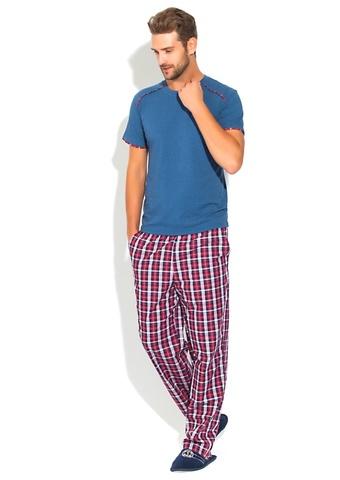 Домашний костюм  пижама сине-красный арт 2193 PECHE MONNAIE