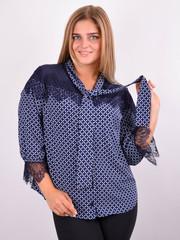 Галина. Стильна блуза для великих розмірів. Синій.