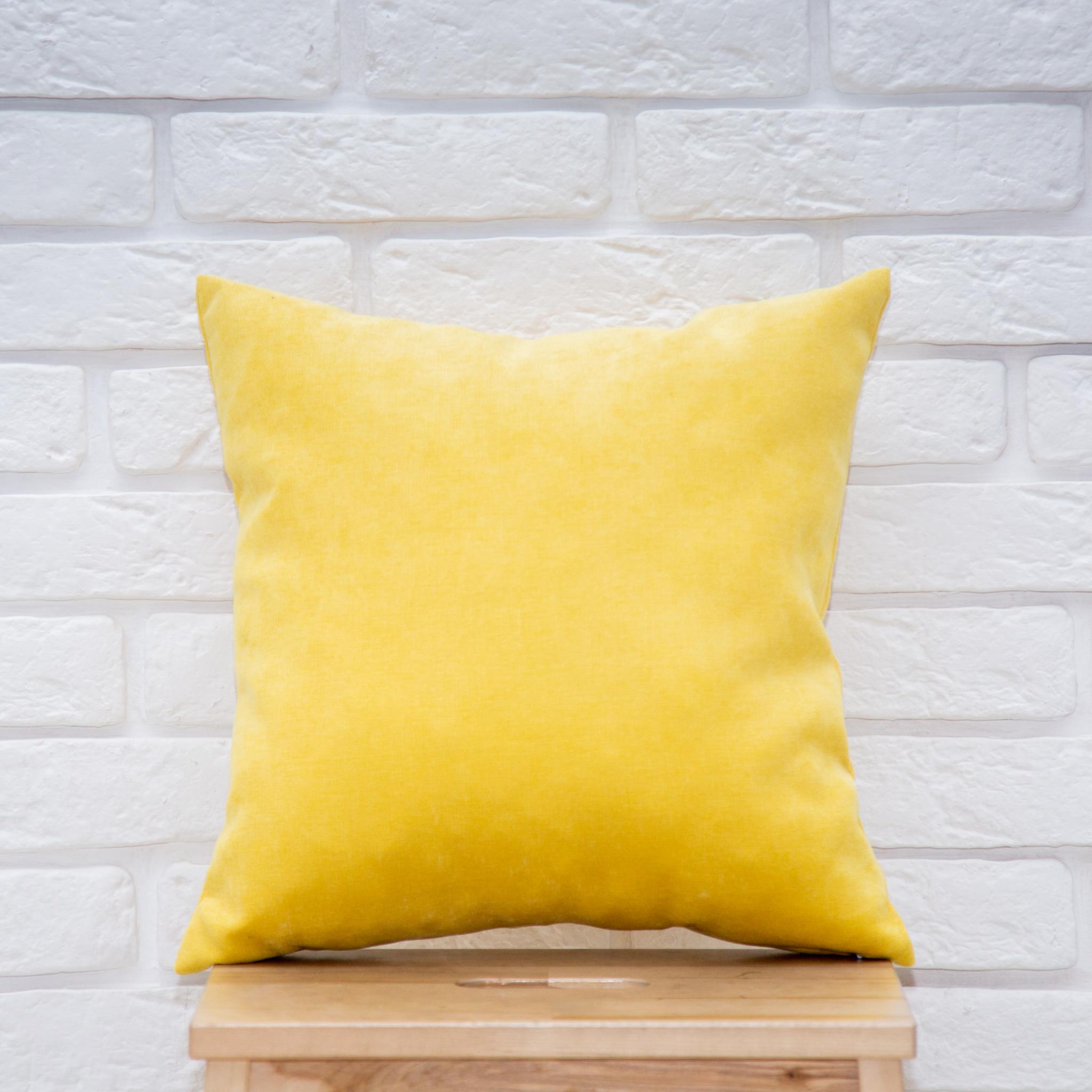 Подушка 40*40 микровельвет (жёлтая)