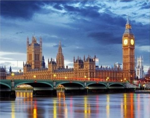 Картина раскраска по номерам 40x50 Биг Бен в Лондоне (арт. PH9367)