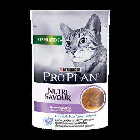 Pro Plan NutriSavour Adult 7+ Консервы для стерилизованных кошек с индейкой, паштет