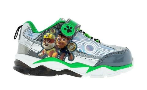 Светящиеся кроссовки Щенячий патруль (Paw Patrol) на липучках для мальчиков, цвет серебристый. Изображение 1 из 5.