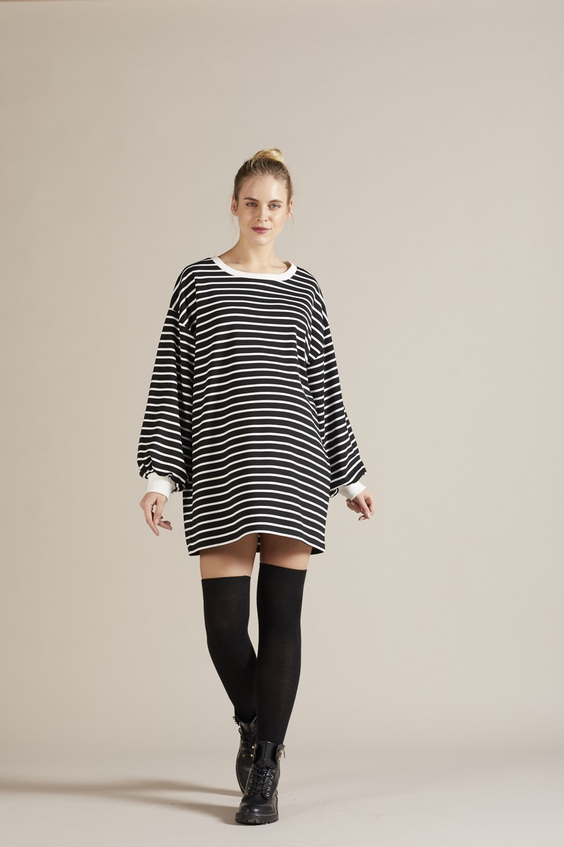 Фото платье для беременных GEBE от магазина СкороМама, черно-белая полоска, размеры.