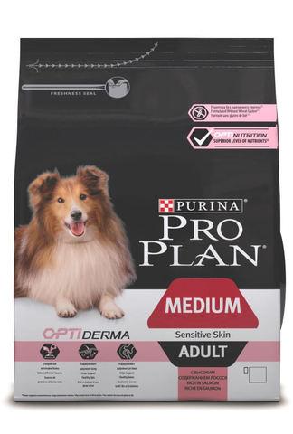 Сухой корм Purina Pro Plan для взрослых собак средних пород с чувствительной кожей, лосось с рисом
