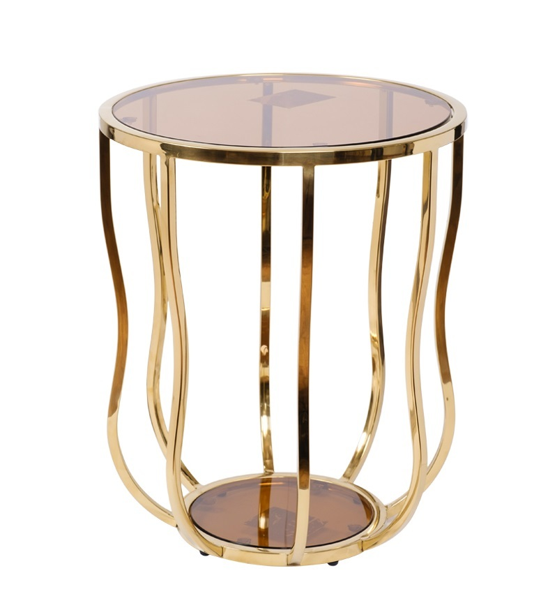 Стол журнальный 13RXET4036-GOLD стекло коричн./золото d50*60см