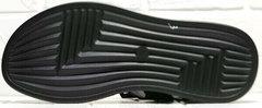 Модные черные босоножки сандалии на плоской подошве мужские Nike 40-3 Leather Black.