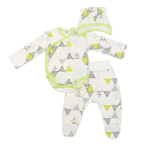 Mini Fox. Комплект для новорожденных швами наружу 3 предмета, зеленые треугольники
