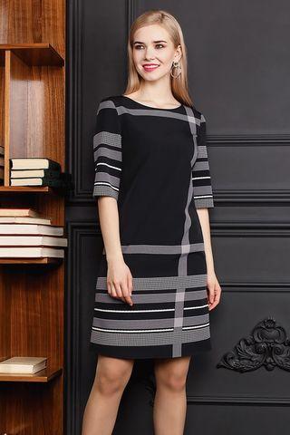 Фото полуприлегающее платье серого цвета с яркими полосами - Платье З297-132 (1)