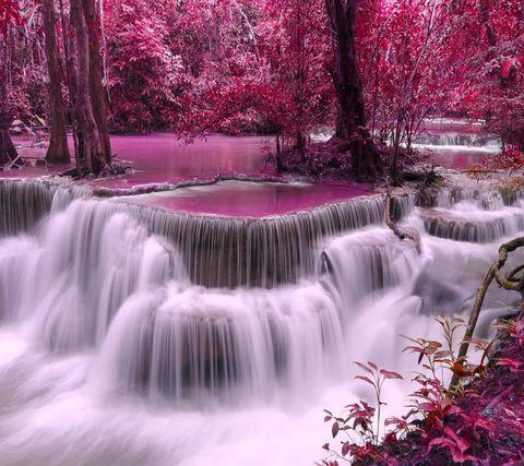 Алмазная Мозаика 20x30 Водопад в розовом лесу
