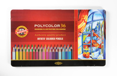 Набор художественных цветных карандашей POLYCOLOR 36 цветов в металлической коробке