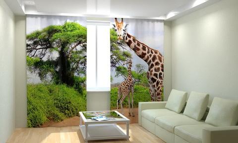 Фотошторы Два жирафа