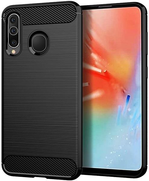 Чехол для Samsung Galaxy A60 (Galaxy M40) цвет Black (черный), серия Carbon от Caseport