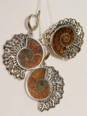 Аммонит (кольцо + серьги из серебра)
