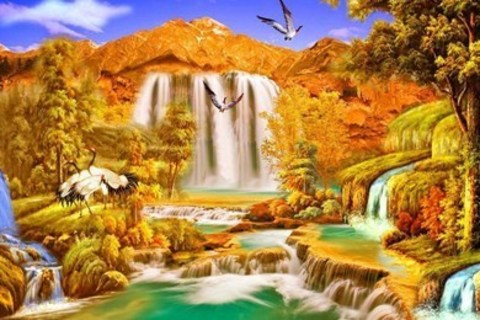 Алмазная Мозаика 50x65 Птицы у водопада