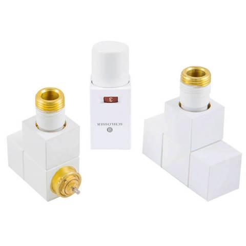Комплект термостатический Форма угловая Белый. Для меди GZ 1/2 x 15x1