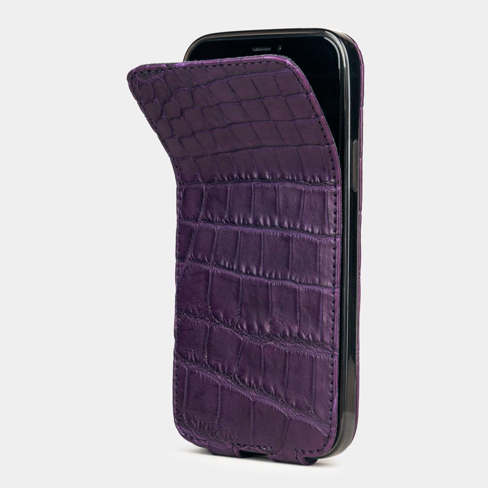 Special order: Чехол для iPhone 12/12Pro из натуральной кожи крокодила, фиолетового цвета