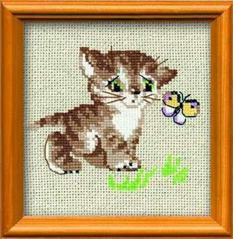 Набор для вышивания крестом «Котенок с бабочкой» (1049)