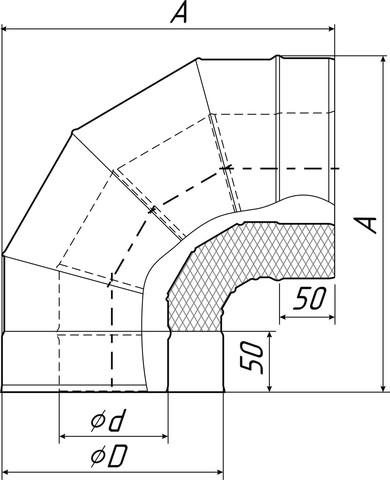 Отвод-сэндвич 90°, Ø115/215 мм, 0,5 мм, нерж/оц