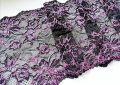Эластичное кружево, ОПТ, чёрное и розовый, 23см (Арт.: ЕК-1057), м