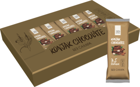 Шоколад без сахара KONJAK CHOCOLATE Миндальный, кор. 10 шт.