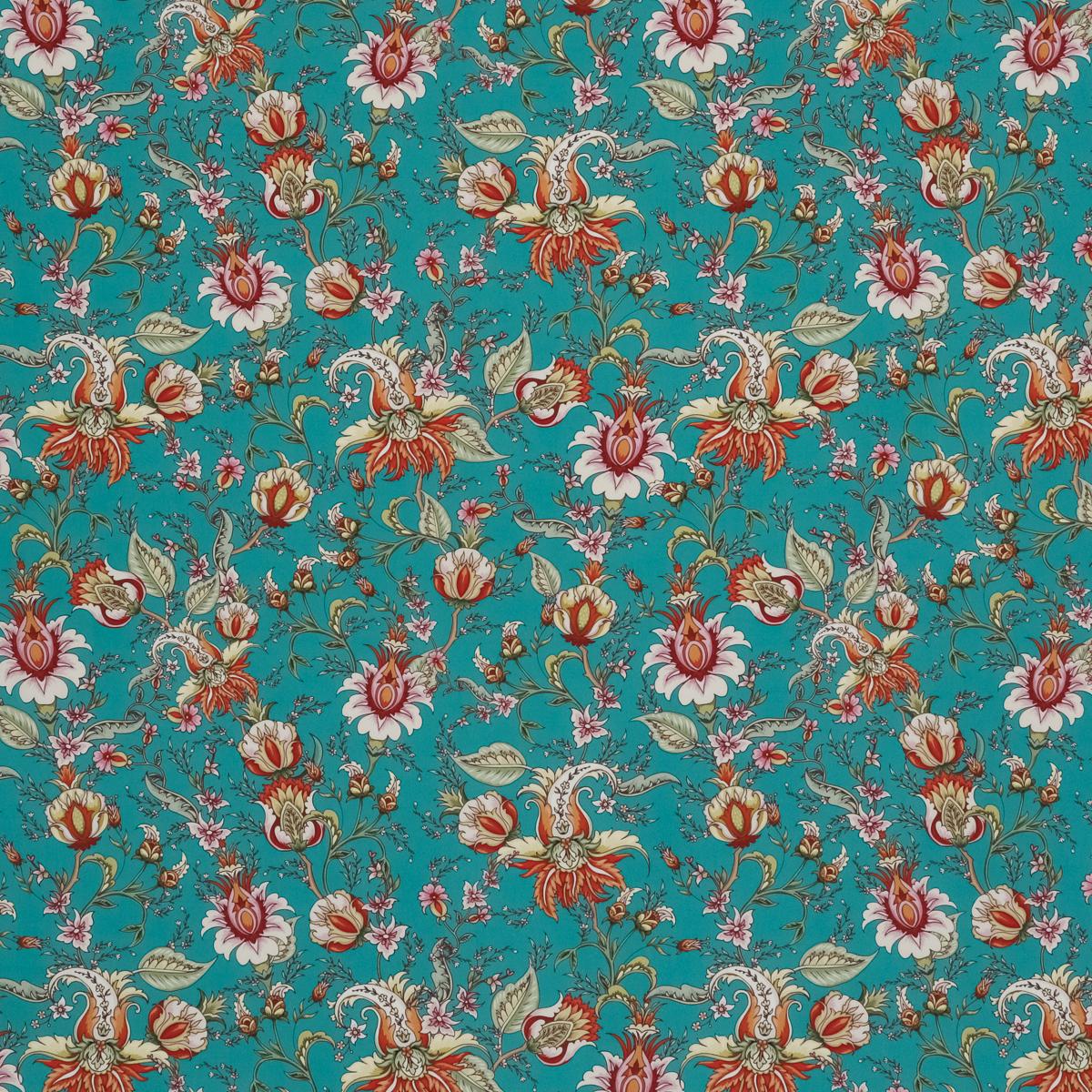 Шёлковый крепдешин бирюзового цвета с пышными бутонами