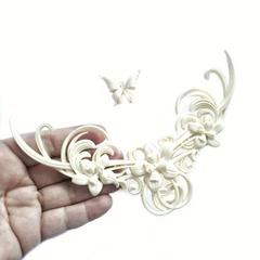 0999 Молд силиконовый. Орнамент изящный с бабочкой большой.