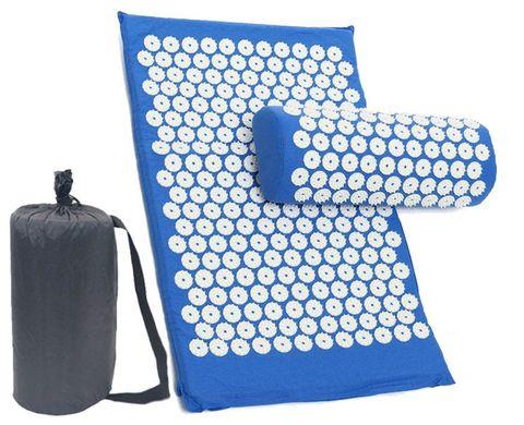Массажный коврик (аппликатор Кузнецова) + подушка (синий)