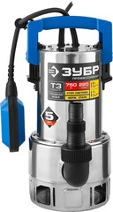 ЗУБР Профессионал НПГ-Т3-750-С, дренажный насос  для грязной воды, корпус - нерж. сталь, 750 Вт