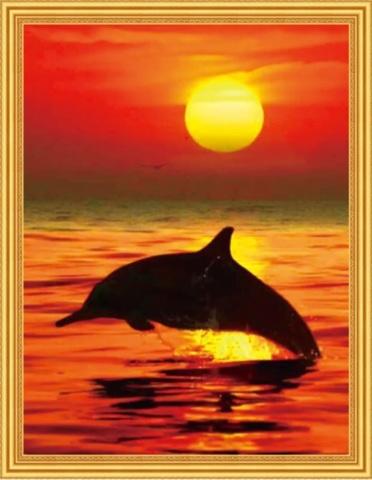 Алмазная Мозаика 50x65 Прыжок дельфина на оранжевом закате