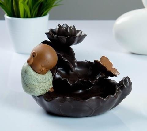 Комплект Будда малыш на лотосе подставка + благовония стелющийся дым, 14 см
