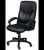 Фортуна 5(8) Кресло для руководителя (кожзам черный, пластиковое пятилучие, подлокотник черный пластик)