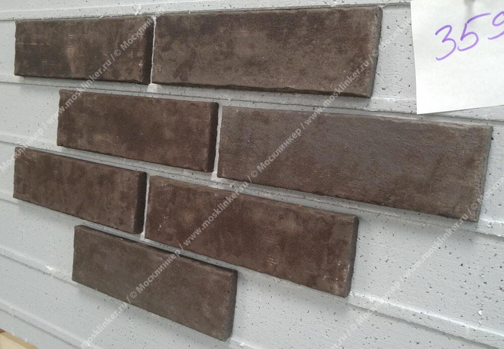 Stroeher - 359 kohlenglanz, Zeitlos, состаренная поверхность, ручная формовка, 400x71x14 - Клинкерная плитка для фасада и внутренней отделки