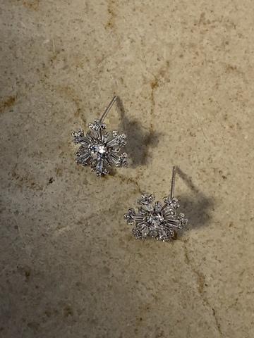Серьги Гвоздика, серебряный цвет