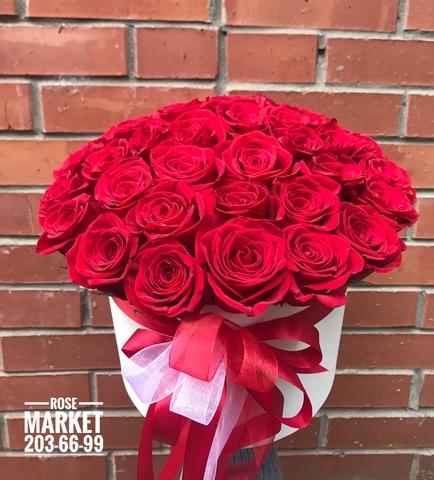 39 роз в шляпной коробке #18671