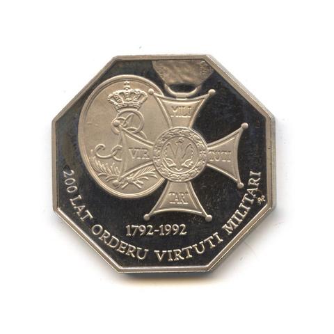 50000 злотых. 200 лет ордену Виртути. 1992 год. Польша. UNC в капсуле