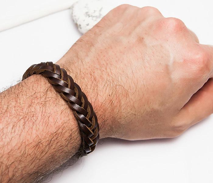 BM451-2 Мужской браслет из натуральной кожи коричневого цвета (19 см) фото 05