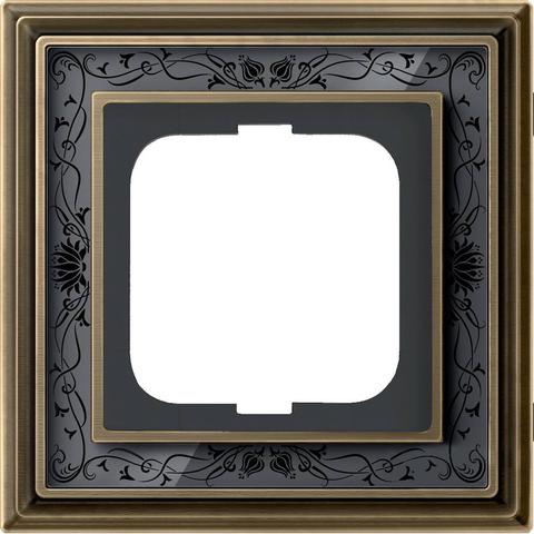Рамка на 1 пост. Цвет Латунь античная, чёрная роспись. ABB(АББ). Dynasty(Династия). 1754-0-4595