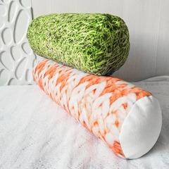 Подушка декоративная валик Gekoko «Вязаный оранжевый» 4