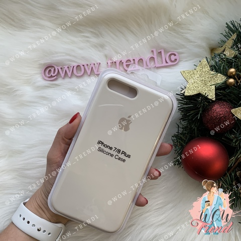 Чехол iPhone 7+/8+ Silicone Case /antique white/ молочный 1:1