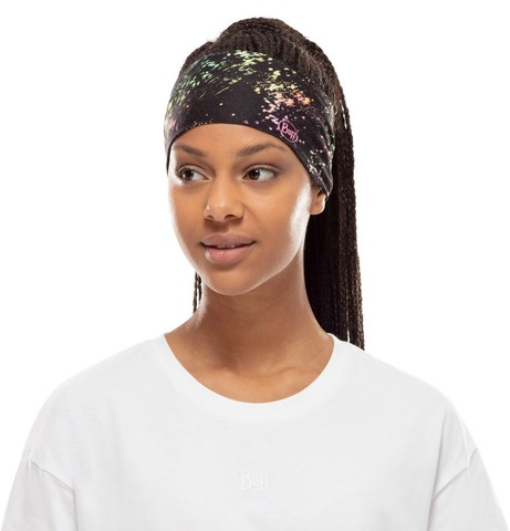 Повязка-чалма летняя Buff Headband Tapered CoolNet Speckle Black фото 2