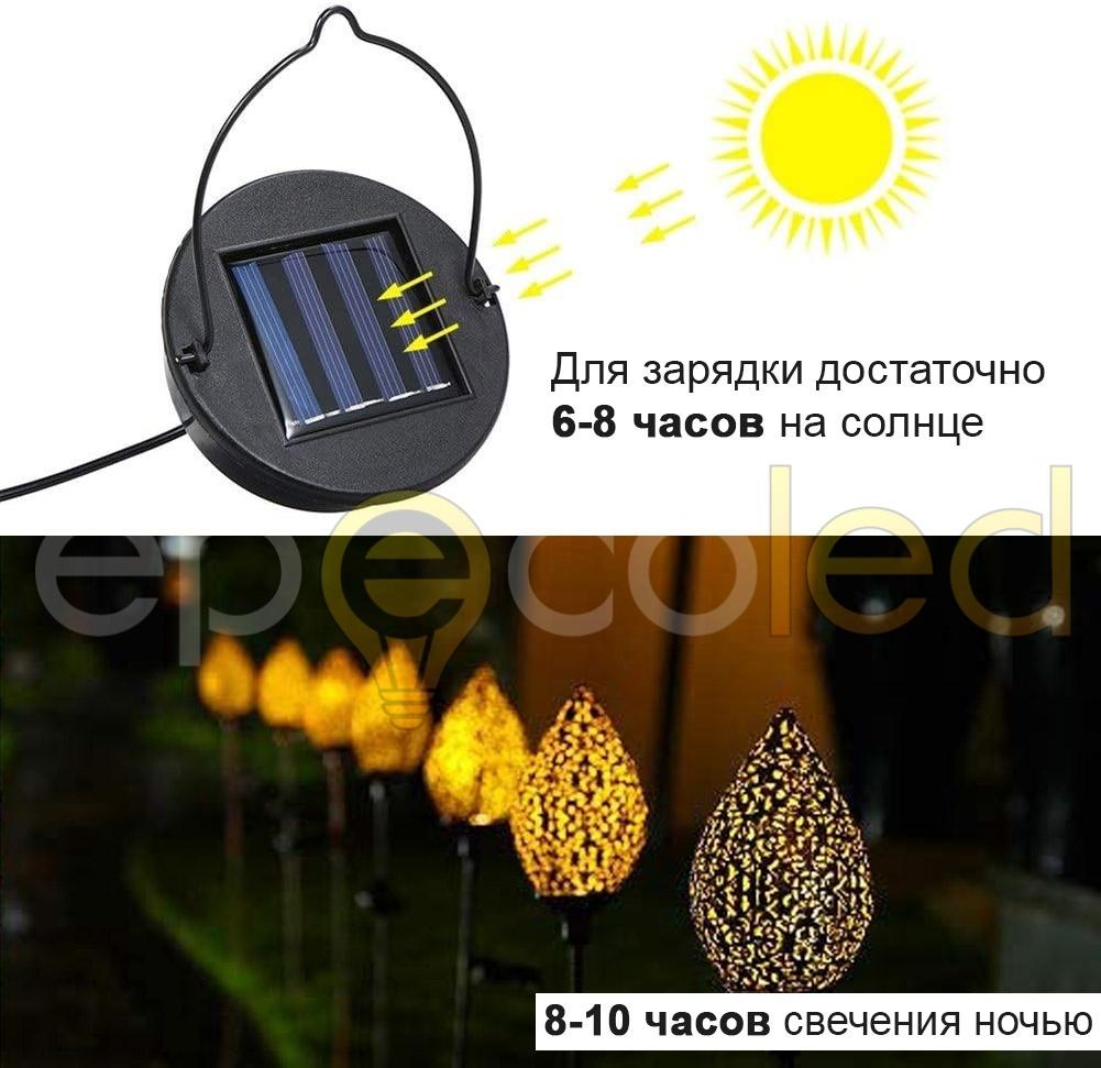 Винтажный светильник EPECOLED на колышке (на солнечной батарее)