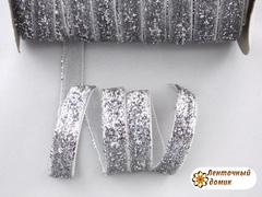 Лента бархатная люриксовая серебряная ширина 1 см