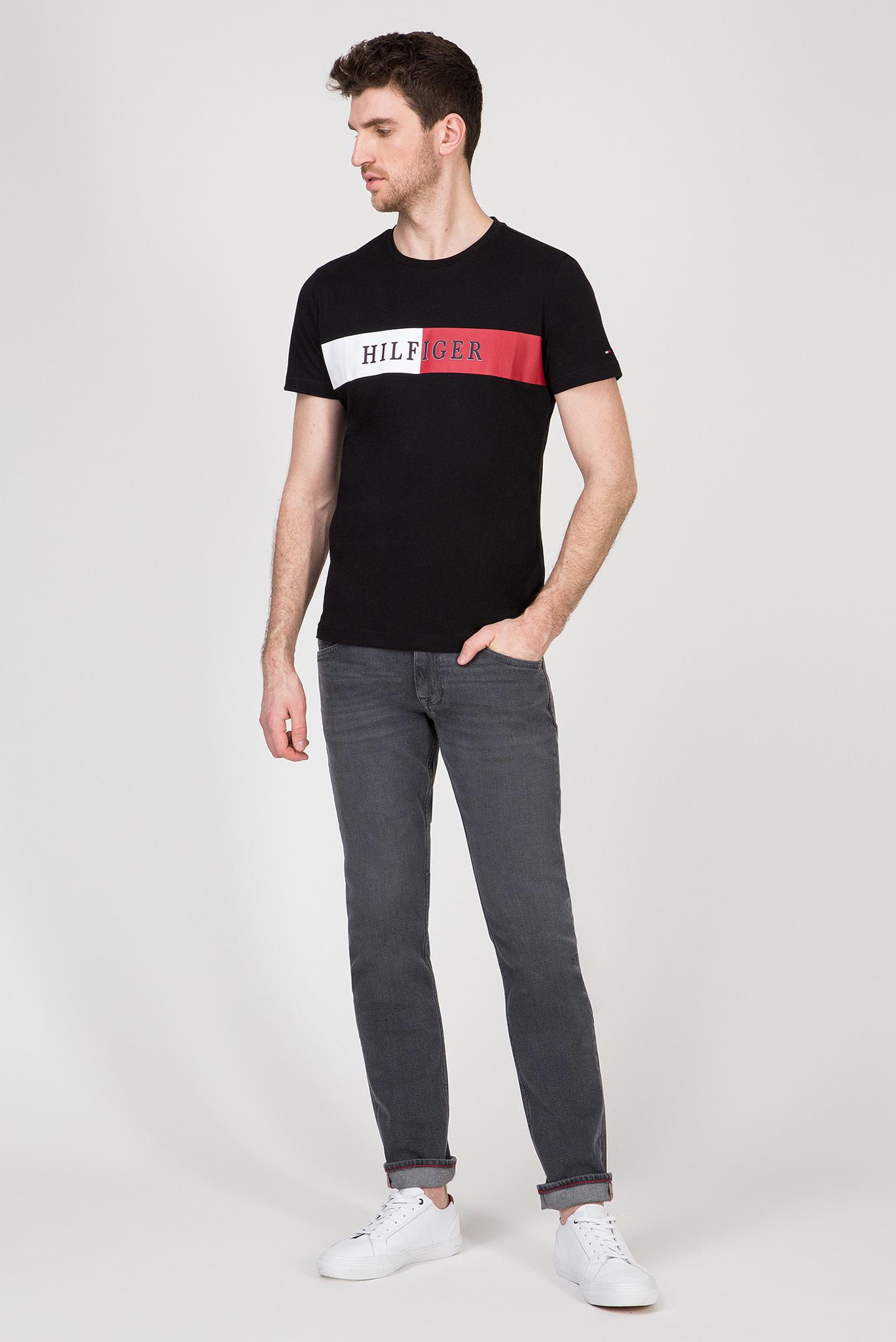 Мужская черная футболка BLOCK STRIPE Tommy Hilfiger