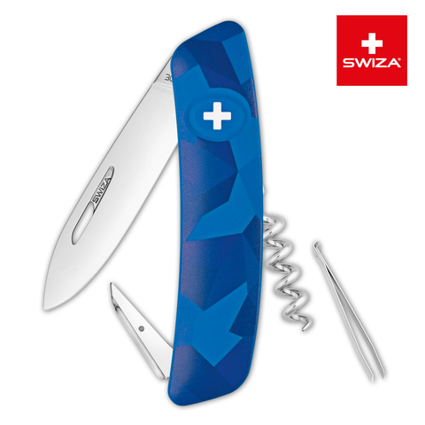 Уценка! Швейцарский нож SWIZA C01 Camouflage, 95 мм, 6 функций, синий